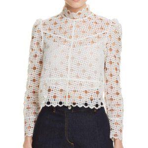 NWT Sandro Paris white eyelet Coralisse blouse